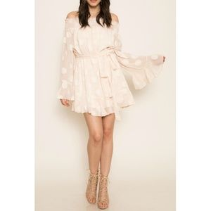 NWT L'Atiste Chiffon Dot Cream Mini Dress M
